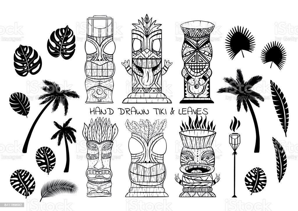 Wood Polynesian Tiki idols, gods statue carving, torch, palm trees, tropical leaves. vector art illustration