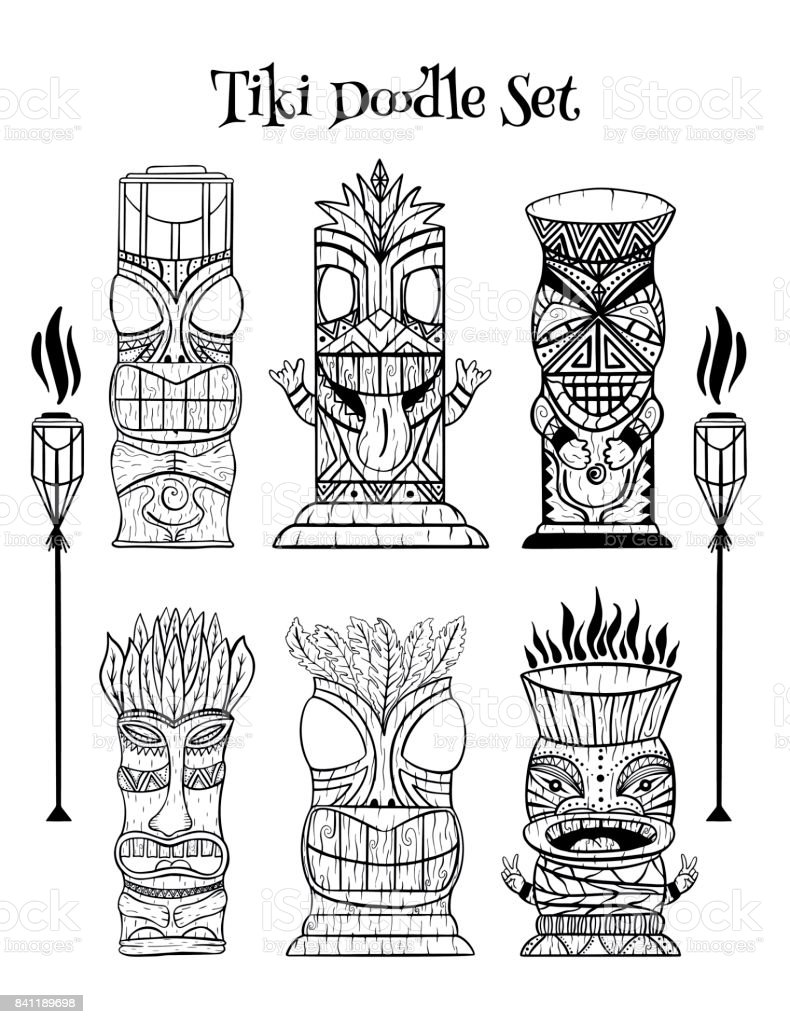 Wood Polynesian Tiki idols, gods statue carving, torch. vector art illustration