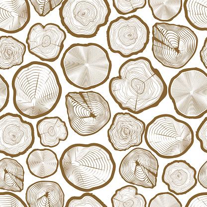 Wood ring saw cuts seamless pattern