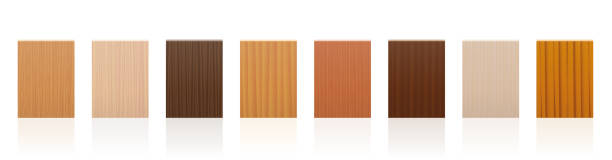wood samples. wooden plate set with different colors, glazes, textures from various trees to choose - brown, dark, gray, light, red, yellow, orange decor models - vector on white background. - wood texture stock illustrations