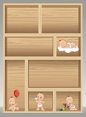 Wood shelf with baby wearing diaper.