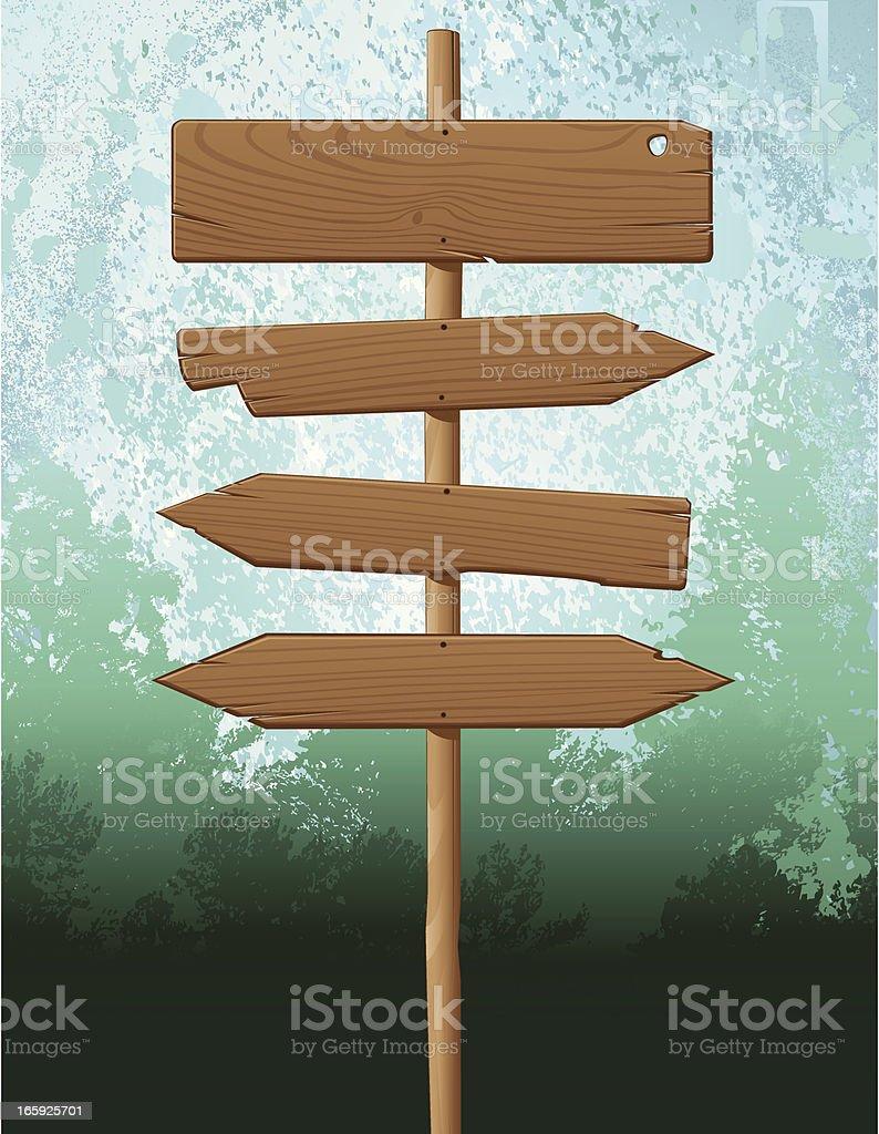 Wood Sign Background vector art illustration