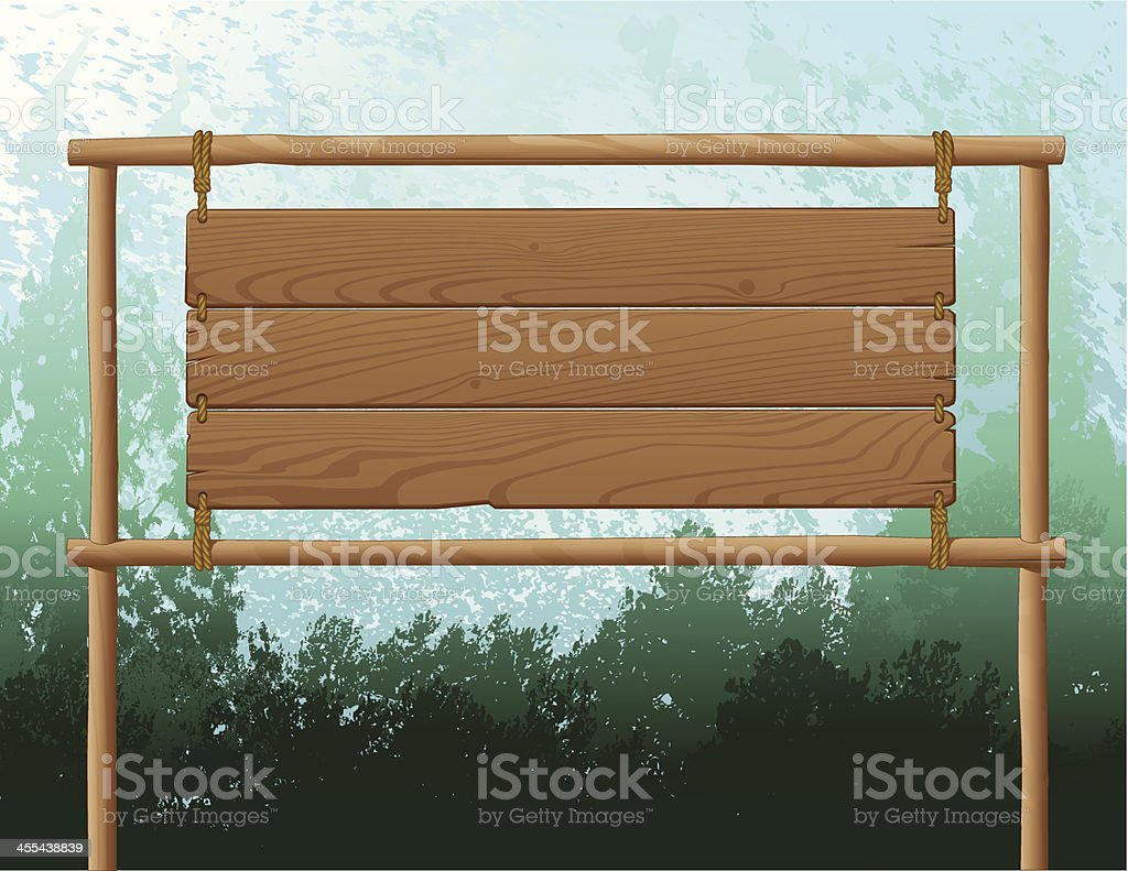 Wood Sign Background vector art illustration