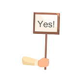Wood sign board for ballot or election time with yes word . Flat style. Vector illustration on white background