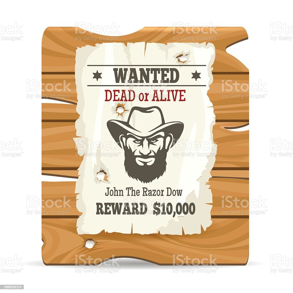 Wood sign board with wanted poster vector art illustration