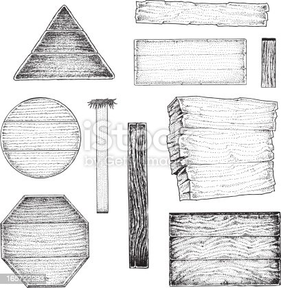 Wood Signs and Posts. Pen and ink illustrations of various wood signs and boards.