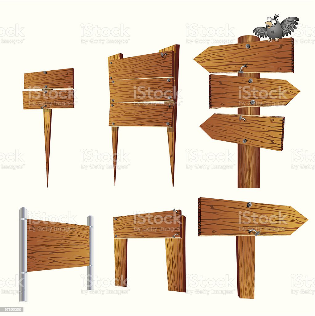 Wood Signs Collection vector art illustration