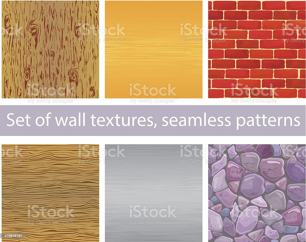 Wood Silver And Gold Metal Brick Stones Seamless Patterns Stock ...