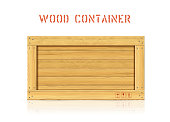 istock Wood simple vector container with planks and freight symbols 1221159305