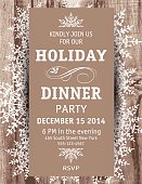 Woodgrain textured background Snowflake Christmas Dinner vertical Invitation Template. Placed On top of the woodgrain background are decoratively designed snowflakes clustered and scattered with a plain brown vertical rectangle on top of them with white dinner party invitational text.