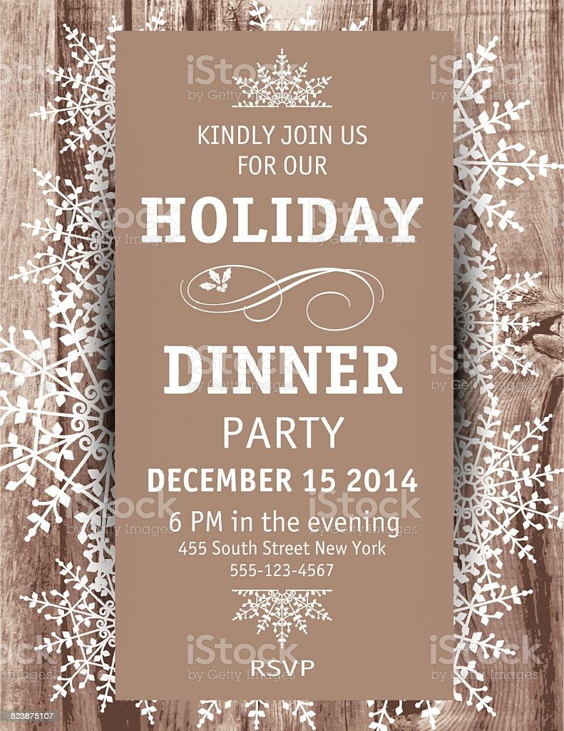 Wood Snowflake Christmas Dinner Invitation Template vector art illustration