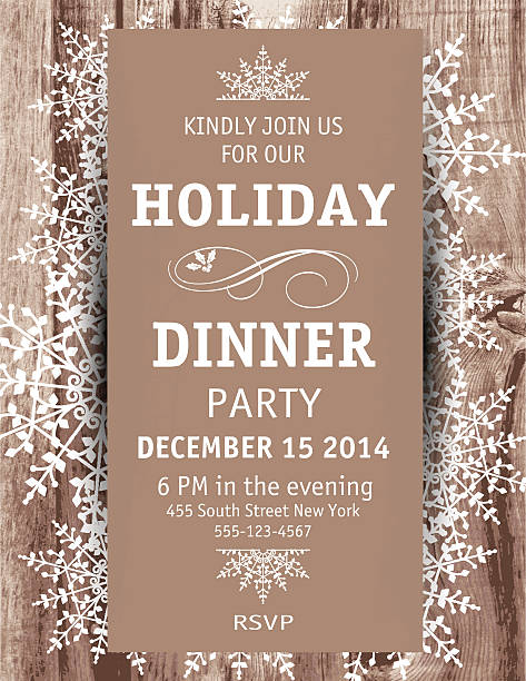 Wood Snowflake Christmas Dinner Invitation Template Woodgrain textured background Snowflake Christmas Dinner vertical Invitation Template. Placed On top of the woodgrain background are decoratively designed snowflakes clustered and scattered with a plain brown vertical rectangle on top of them with white dinner party invitational text. christmas dinner stock illustrations