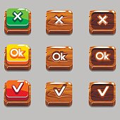 Vector Cartoon wood square buttons for game or web design, OK,Yes, close, gui elements set