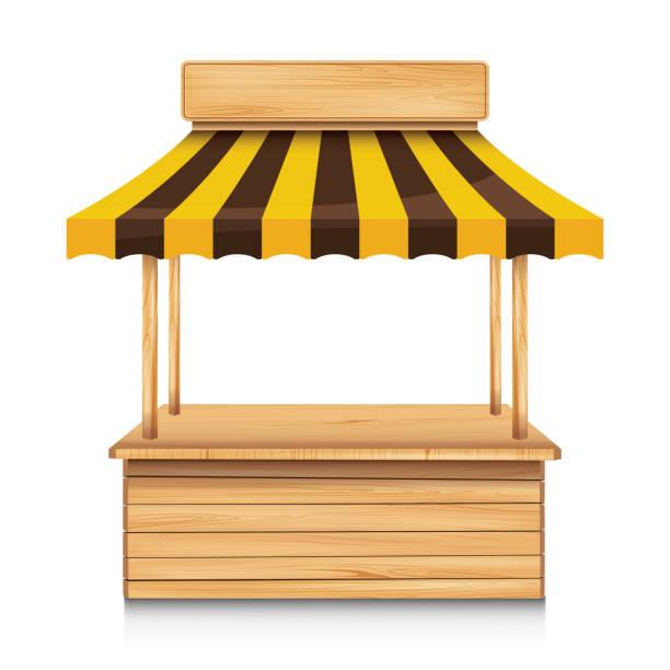 illustrazioni stock, clip art, cartoni animati e icone di tendenza di wood street stall with yellow and brown awning on white background. - banchi scuola