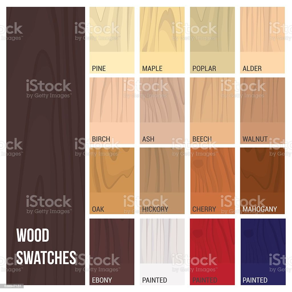 Wood swatches vector art illustration