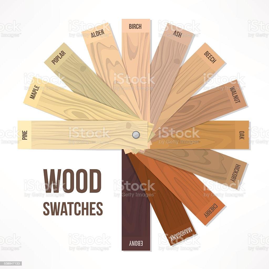 Wood swatches vector art illustration