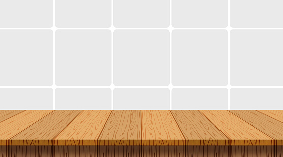 wood table empty on wall tiles ceramic background, tabletop and copy space text, top shelf wood front mosaic wall tiles kitchen room, wooden top table at tiled grey pastel soft, mock-up counter desk