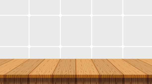 ilustrações de stock, clip art, desenhos animados e ícones de wood table empty on wall tiles ceramic background, tabletop and copy space text, top shelf wood front mosaic wall tiles kitchen room, wooden top table at tiled grey pastel soft, mock-up counter desk - top view, wood table, empty