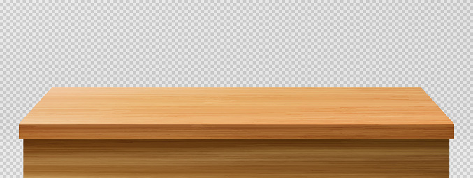 Wood table foreground, vintage tabletop front view