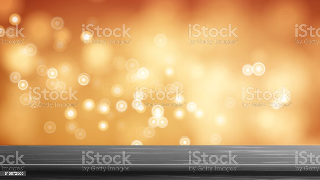 Wood Table Top Vector. Abstract Morning Sunlight. Abstract Warm Blur And Bokeh Background. Decoration Of Desk And Gold Space