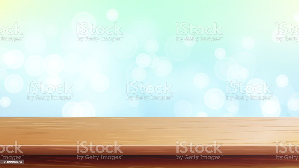 Wood Table Top Vector. Abstract Morning Sunlight. Bokeh Background With Vintage Filter. Blurred Warm Bokeh Background For Advertising Your Product On Display