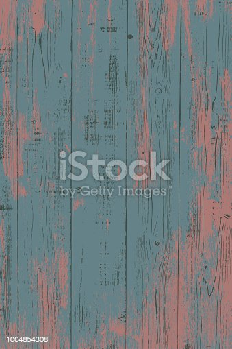 Grunge wood overlay vertical texture. Vector illustration background in dark muted pink and teal blue. Natural rustic distressed backdrop.