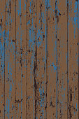 Grunge wood overlay vertical texture. Vector illustration background in dark brown and blue. Natural rustic distressed backdrop.