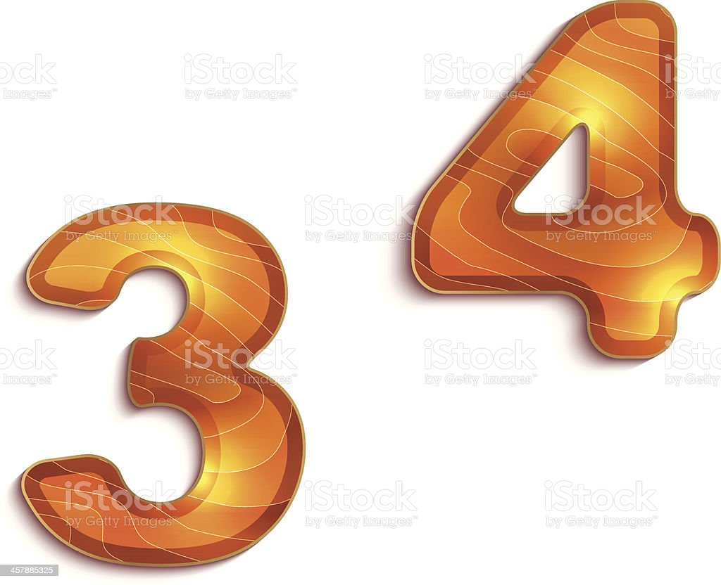 wood texture numbers 3 4 with shadow effect royalty-free wood texture numbers 3 4 with shadow effect stock vector art & more images of carpenter