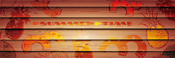 Wood texture. Summer icons on a wooden background from boards. Creative flyer or poster