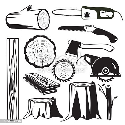 Wood trunks black. Wooden industry forestry tree elements vector monochrome pictures. Illustration of wood trunk and forestry industry, instrument sawmill and equipment for cutting