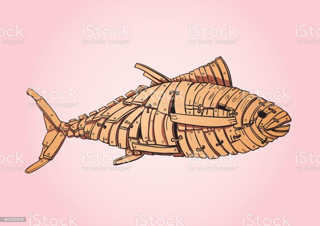Wood Tuna Fish / Troy Fish vector art illustration