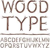 An alphabet of hand-drawn wood type.