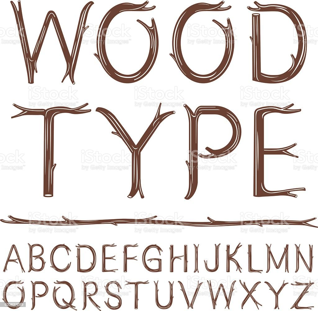 Wood Type vector art illustration