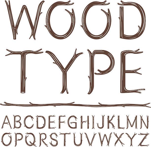 drewno typu - gałązka stock illustrations
