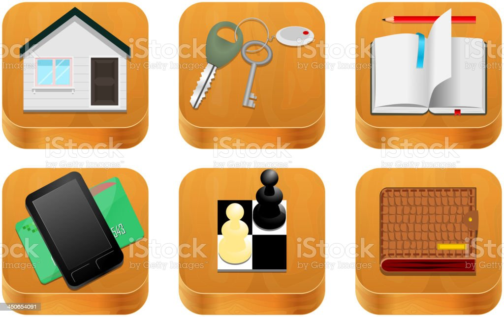 Wood vector icons royalty-free stock vector art