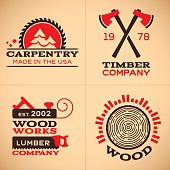 Wood working, carpentry, timber and lumber company symbols and icon collection. EPS 10 file. Transparency effects used on highlight elements.