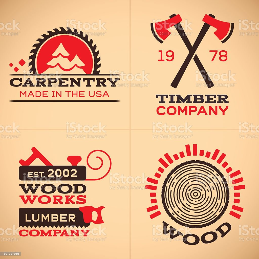 El trabajo de la madera y carpintería iconos y símbolos - ilustración de arte vectorial