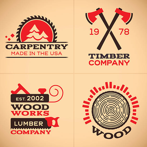 wood working and carpentry symbols and icons - carpenter stock illustrations, clip art, cartoons, & icons