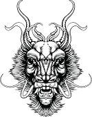 Woodblock style dragon head