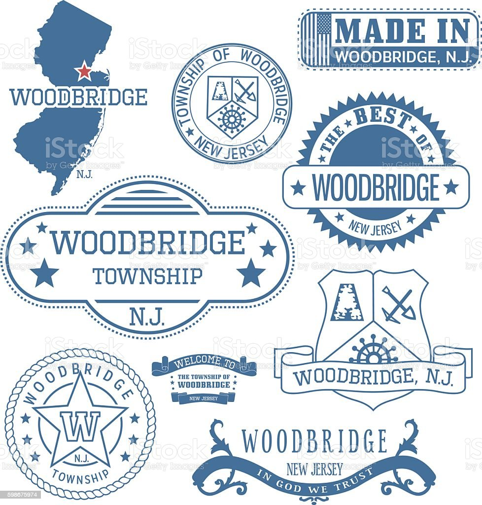 Woodbridge township, NJ, generic stamps and signs vector art illustration