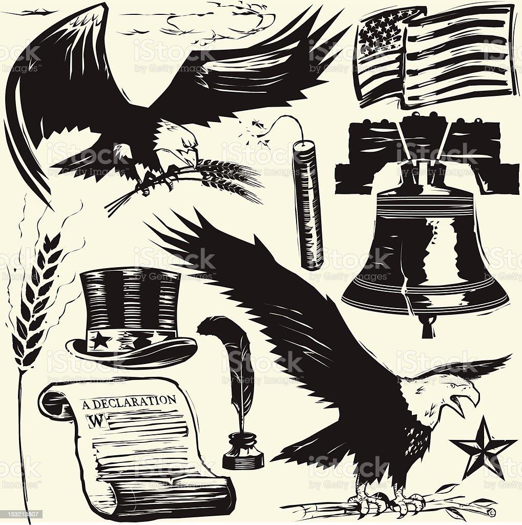 Woodcut Americana vector art illustration