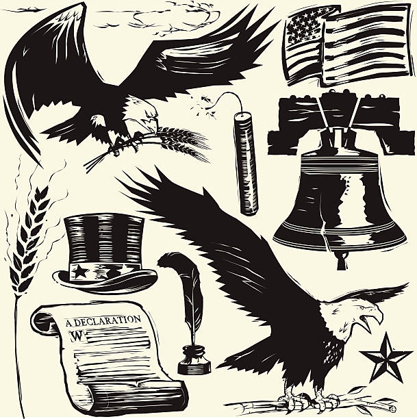 Woodcut Americana Woodcut style clip art - vintage American images declaration of independence stock illustrations