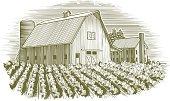 Woodcut Barn and House