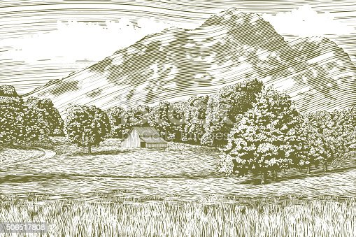 Woodcut-style illustration of a farm and barn with a mountain in the background.