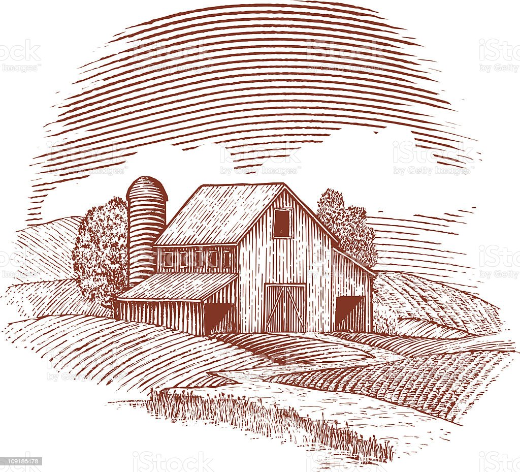 Woodcut Barn vector art illustration