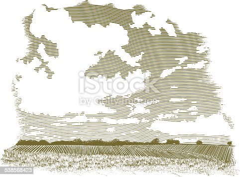 This sepia-toned vintage-looking woodcut-style vector illustration shows a wide landscape view of a farm field. The foreground is grass, while the background shows rows of crops. The large sky shows large puffy clouds. This illustration was created in a scratch board style.