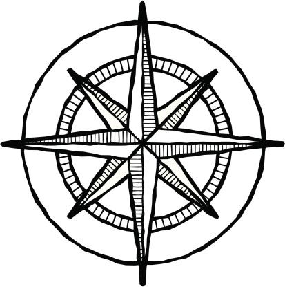 Woodcut compass rose