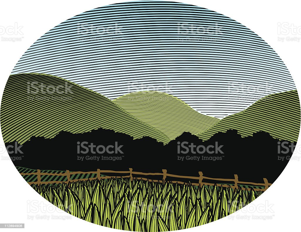 Woodcut Country Scene Color royalty-free woodcut country scene color stock vector art & more images of art