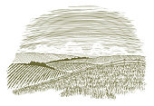 Woodcut Countryside Fence Row