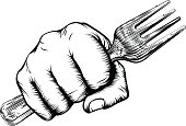 Woodcut Fist Hand Holding Fork